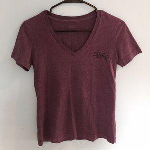Stussy purple V-neck shirt